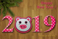 New Year 2019 card with a toy pig 1 vector illustration