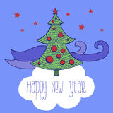 New year card with trees vector image. New year card vector image stock illustration