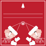 New Year card with two Santas. Illustration of Santa's congratulation on the red background Royalty Free Stock Images