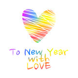 New Year card with the valentine heart Royalty Free Stock Image