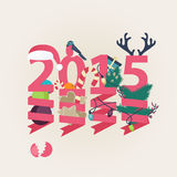2015 New Year card vector design. With the date in pink with suspended party streamers twirled around Christmas ornaments, tree, lights and candy with a Santa Royalty Free Stock Image