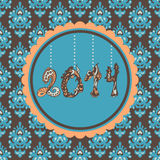 2014 New Year Card vintage. New Year Card hanging figures vintage Royalty Free Stock Photography