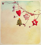 New Year card. Vintage style. Paper watercolor textured. Royalty Free Stock Photo