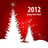 New Year Card whith Red Background Royalty Free Stock Image