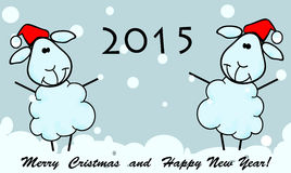 New Year card. 2015 whith ship royalty free illustration