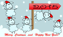 New Year card. 2015 whith ship Stock Photo