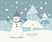 New Year card. Winter landscape with a snowman and Christmas tree Royalty Free Stock Photography