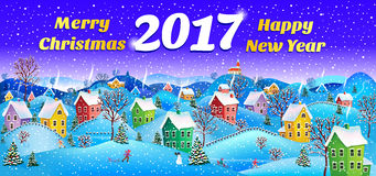 New year card 2017. 2017 Winter rural landscape to a happy Christmas Stock Photo