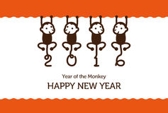 Free New Year Card With Monkeys Stock Photos - 56214623