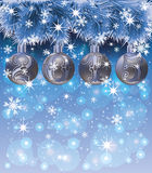 New Year 2015 card with xmas balls and snow Royalty Free Stock Images
