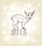 New year card with yeanling. Hand drawn vector new year card with yeanling vector illustration