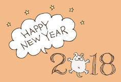 New Year Card for year 2018 with cartoon dog Stock Photos