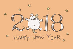 New Year Card for year 2018 with cartoon dog Stock Image