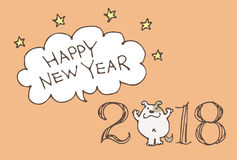 New Year Card for year 2018 with cartoon dog Stock Photography