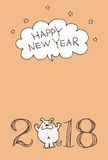 New Year Card for year 2018 with cartoon dog Stock Photo