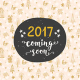 New Year card. 2017 year coming soon. Hand lettering in golden and black colors. Trendy typography design for invitations, posters. Retro style. Vector stock illustration