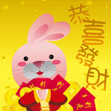 New Year Card, year of rabbit,2011. With lovely cartoon rabbit Vector Illustration