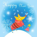 New Year card with a yellow dog Obrazy Stock