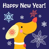 New Year card with a yellow dog Fotografia Stock