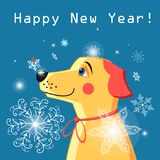 New Year card with a yellow dog Obraz Royalty Free