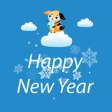 New Year card with a yellow dog Obrazy Royalty Free