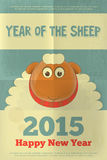 New Year Cards. New Year Card with Cute Cartoon Big Sheep in Retro Style. Symbol of 2015 year. Year of the Sheep. Vector Illustration Stock Images