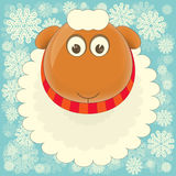 New Year Cards. New Year Card with Cute Cartoon Big Sheep on Snowy Background. Symbol of 2015 year. Year of the Sheep. Vector Illustration Stock Images