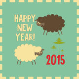 New Year Cards. New Year Card with Cute Cartoon Black and White Sheeps. Symbol of 2015 year. Year of the Sheep. Vector Illustration Vector Illustration