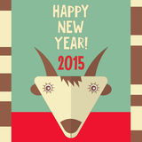 New Year Cards. New Year Card with Cute Cartoon Flat Goat. Symbol of 2015 year. Year of the Goat. Vector Illustration Vector Illustration