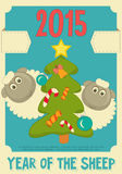 New Year Cards. New Year Card with Cute Cartoon Sheep. Year of the Sheep. Vector Illustration royalty free illustration