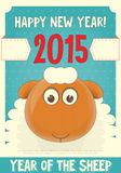 New Year Cards. New Year Card with Cute Cartoon Sheep. Symbol of 2015 year. Year of the Sheep. Vector Illustration Vector Illustration