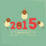 New Year Cards. New Year Card with Cute Cartoon Sheeps. Symbol of 2015 year. Year of the Sheep. Vector Illustration Vector Illustration