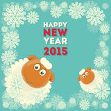 New Year Cards. New Year Card with Cute Cartoon Two Sheeps. Symbol of 2015 year. Year of the Sheep. Vector Illustration Vector Illustration