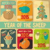 New Year Cards. With Cute Cartoon Sheep in Retro Style. Symbol of 2015 year. Year of the Sheep. Vector Illustration stock illustration