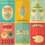 New Year Cards. With Cute Cartoon Sheep in Retro Style. Symbol of 2015 year. Vector Illustration Royalty Free Illustration