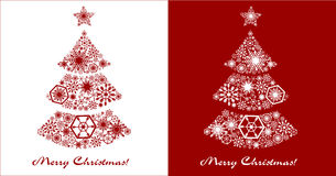 New Year cards. Festive Christmas tree on a white and red backgr. Ound Royalty Free Stock Photos
