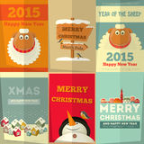 New Year Cards. New Year and Merry Christmas Cards with Cute Cartoon Sheep, Snowman in Retro Style. Vector Illustration Stock Illustration
