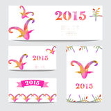 New year cards set. New Year 2015 cards set with goat heads made by colorful geometric triangles. Chinese astrological sign. New year background, invitation Stock Image