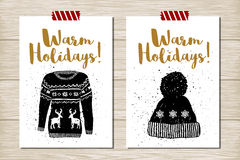 New Year cards set. Hand drawn textured New Year card with Christmas sweater and knitted hat vector illustrations royalty free illustration