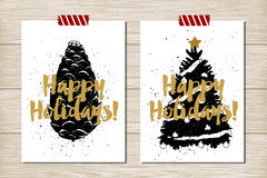 New Year cards set. Hand drawn textured New Year card with pine cone and Christmas tree vector illustrations stock illustration
