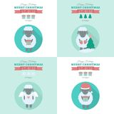 New Year cards with sheep in flat. New Year cards with symbol of year cute sheep. Vector holiday illustrations in flat style vector illustration