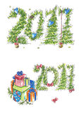 New Year Cards wuth gifts and hearts. New Year and Christmas Card with fir and pine branches, blue hearts and gifts Stock Image