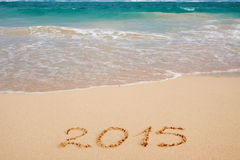 New Year 2015 . New Year 2015 on a Caribbean beach Stock Image