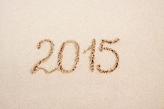 New Year 2015 . New Year 2015 on a Caribbean beach Royalty Free Stock Photo