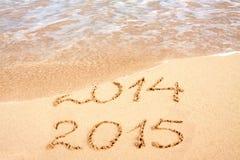New Year 2015 . New Year 2015 on a Caribbean beach Royalty Free Stock Photos