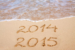 New Year 2015 . New Year 2015 on a Caribbean beach Royalty Free Stock Image