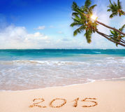 New Year 2015 . New Year 2015 on a Caribbean beach Stock Images