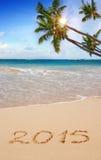 New Year 2015 . New Year 2015 on a Caribbean beach Stock Photo