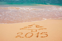 New Year 2015 in caribbean. Royalty Free Stock Photo