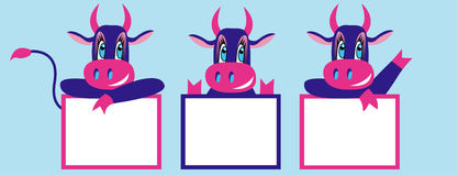 New year cartoon cows. New year vector cartoon cows royalty free illustration